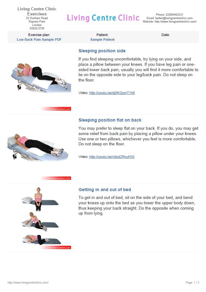 Advice Sheet Back Pain (sample)